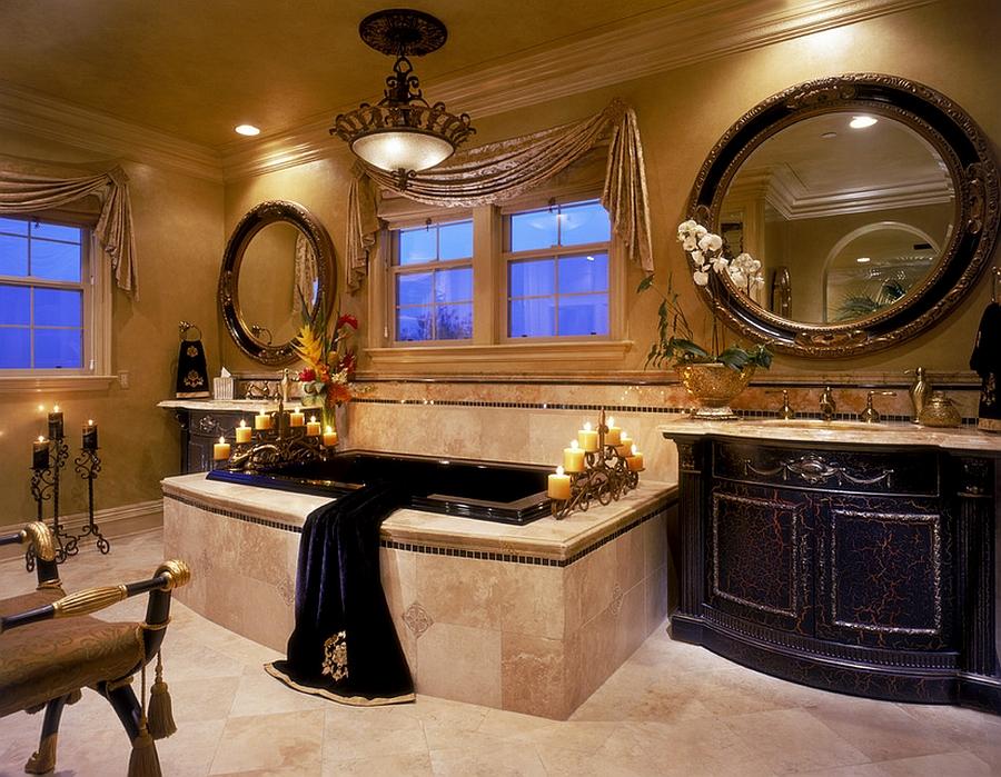 Regal Mediterranean bathroom in black and gold