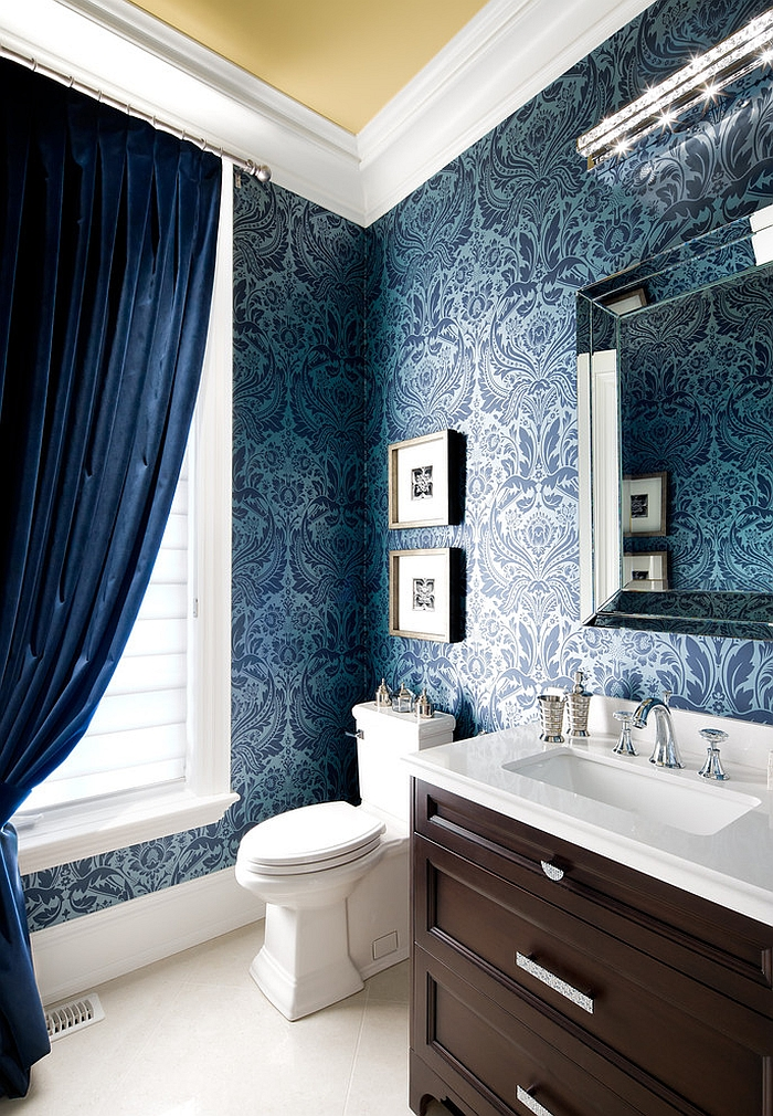 Rich blue damask wallpaper adds the wow factor to the space [Design: Jane Lockhart Interior Design]