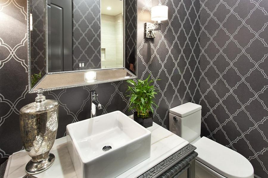 Smart wallpaper gives the powder room a timeless look [Design: SP Design Build]