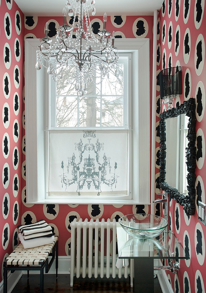 Snazzy wallpaper also brings along with it a hint of feminine charm [Design: Favreau Design]