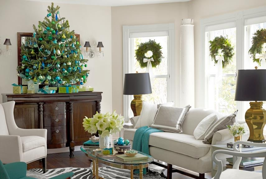 Tabletop tree in a chic living room