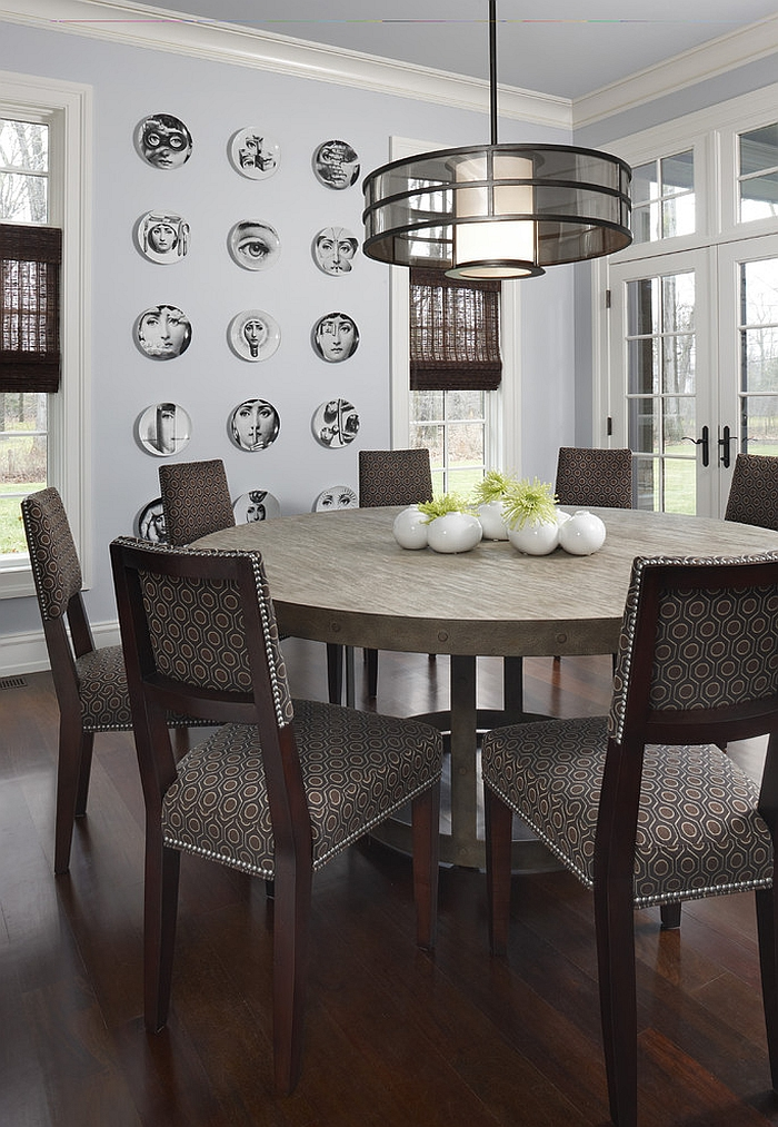 Theme And Variations Plates in the contemporary dining room [Design: AMW Design Studio]