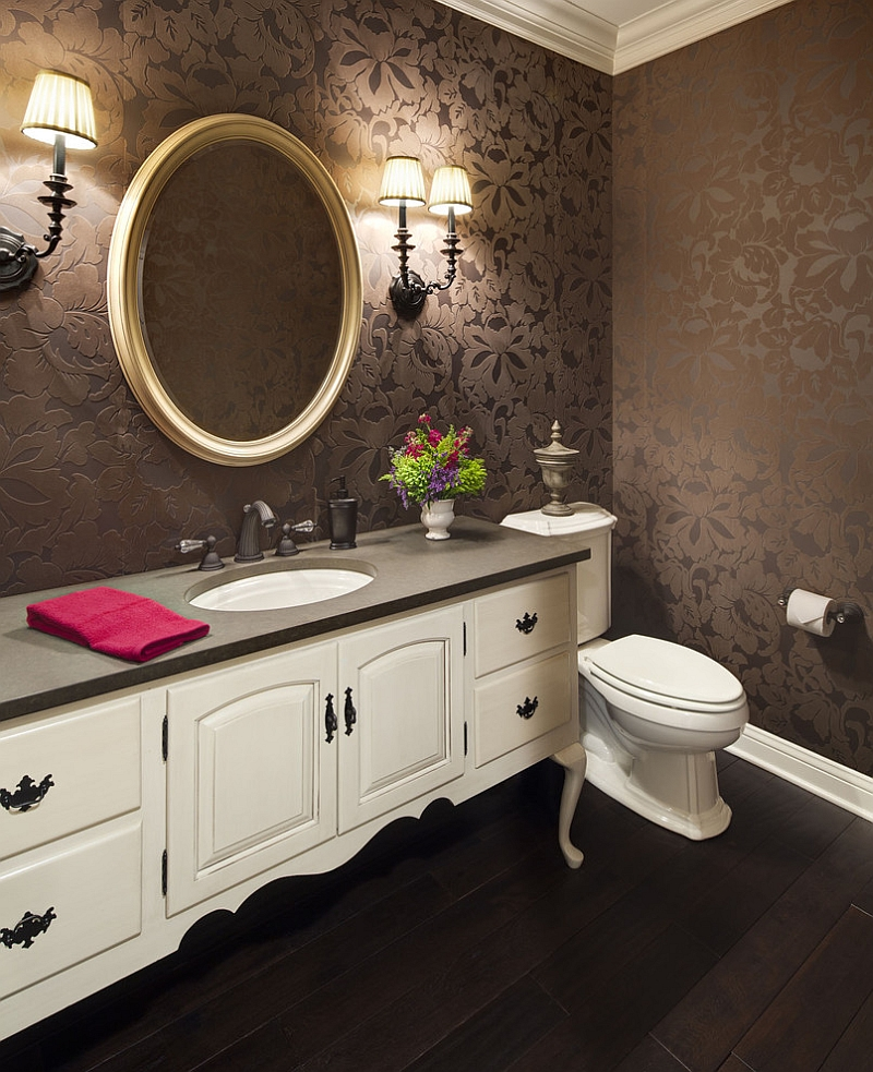Wallpaper brings an air of luxury to the space [Design: KannCept Design]
