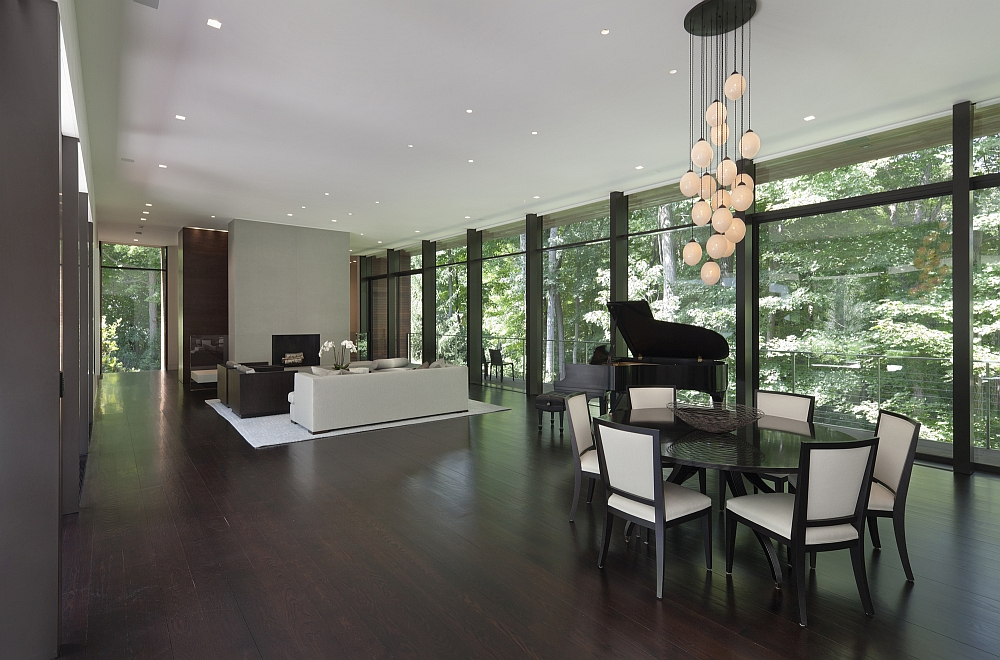 Cascading chandelier adds drama to the open plan living area
