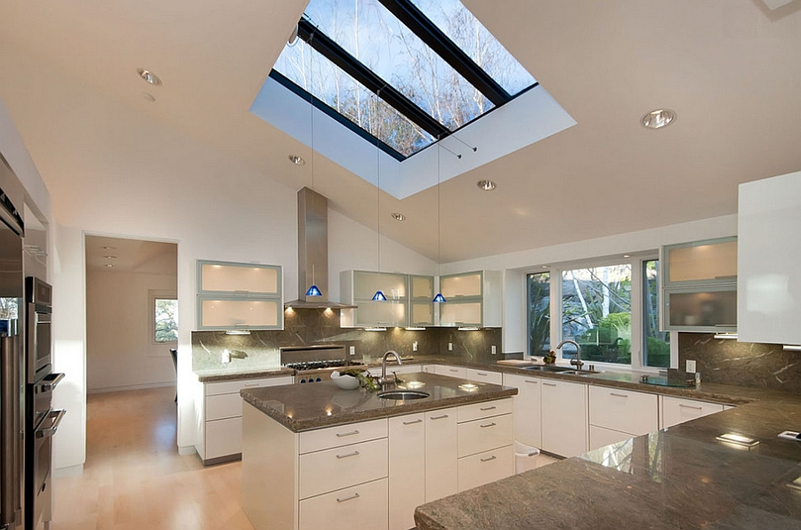 Custom skylights and pendants enliven the modern kitchen [Design: Mark Pinkerton - vi360 Photography]