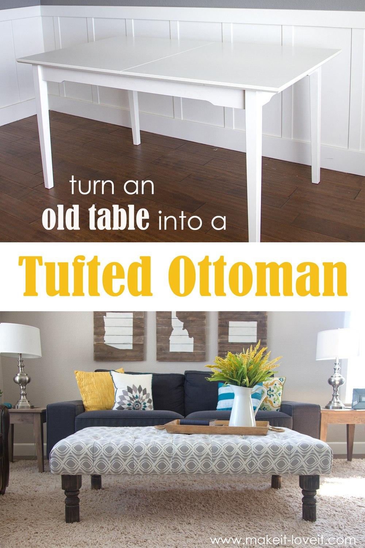 DIY Table into Tufted Ottoman