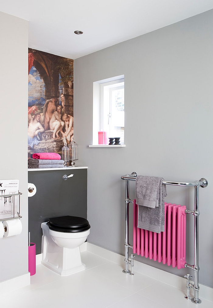 Feminine bathroom with a restrained pop of pink!
