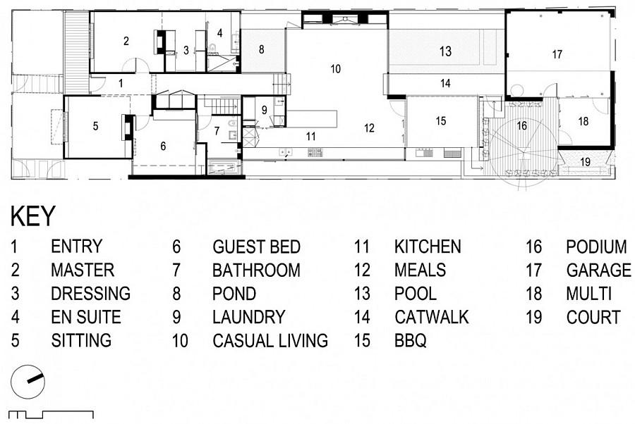 Floor plan of the Hambleton Street House in Melbourne