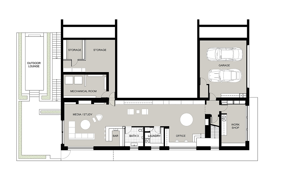 Floor plan of the lower level of the New Canaan Residence