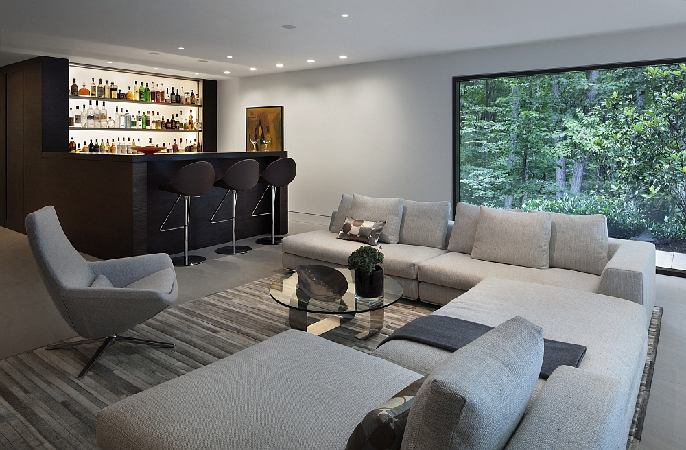 Gorgeous home bar with smart seating options