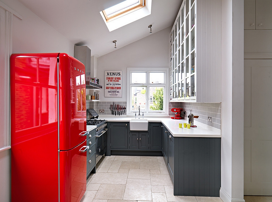 Gorgeous kitchen with gray shelves and a bright pop of red [From: Adam Butler Photography]