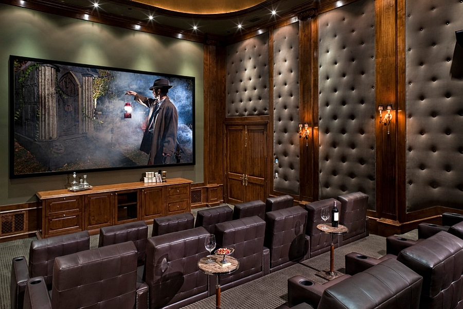 Gorgeous tufted wall panels improve the acoustics of home theater