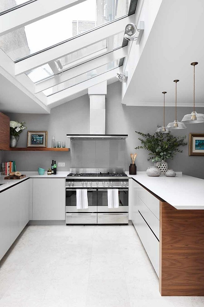 Large skylights define the overall ambiance of the kitchen