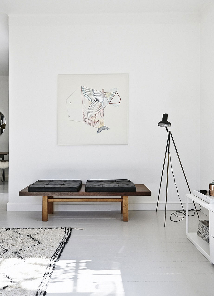 Modern art combined with Midcentury flair inside the Helsinki apartment