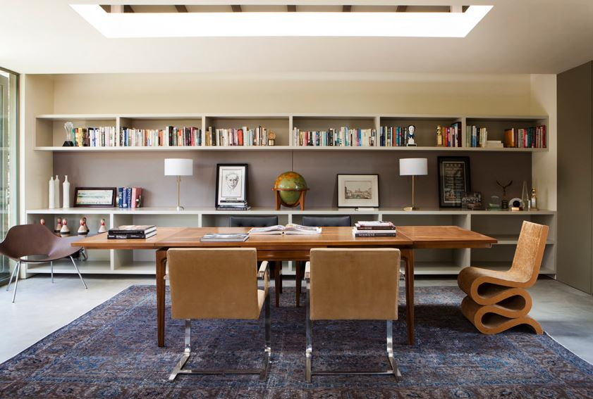 Overdyed rug in a modern home office