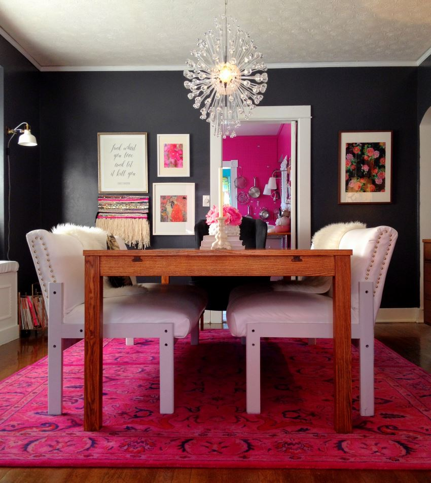Overdyed rug in a vibrant modern dining room