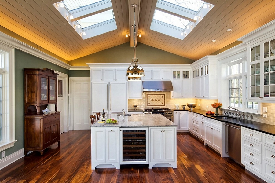Skylights bring drama to this traditional kitchen [Design: Cathy Knight of Knight Architects]