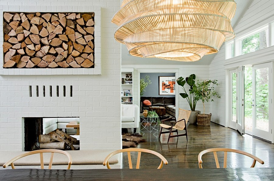 Smart firewood storage space becomes an artistic addition in this dining room