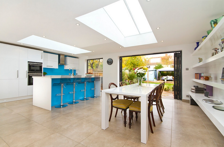 Smart skylights for both the dining space and the kitchen [Chris Snook Photography]