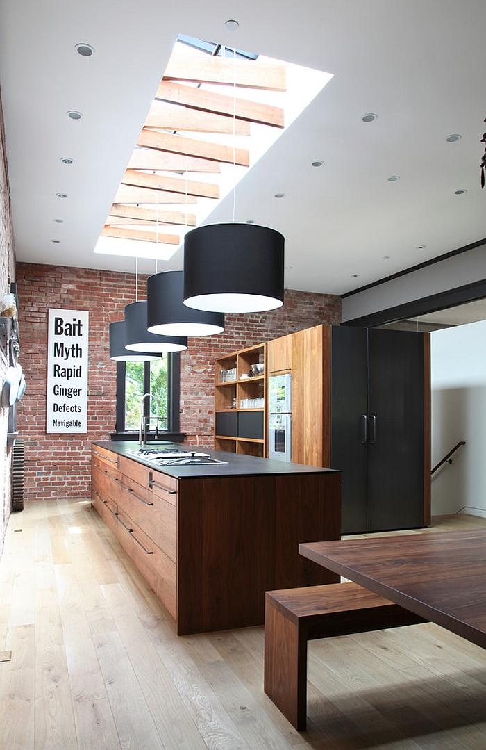 Unique skylight with trusses for the trendy kitchen [Design: Union Studio]