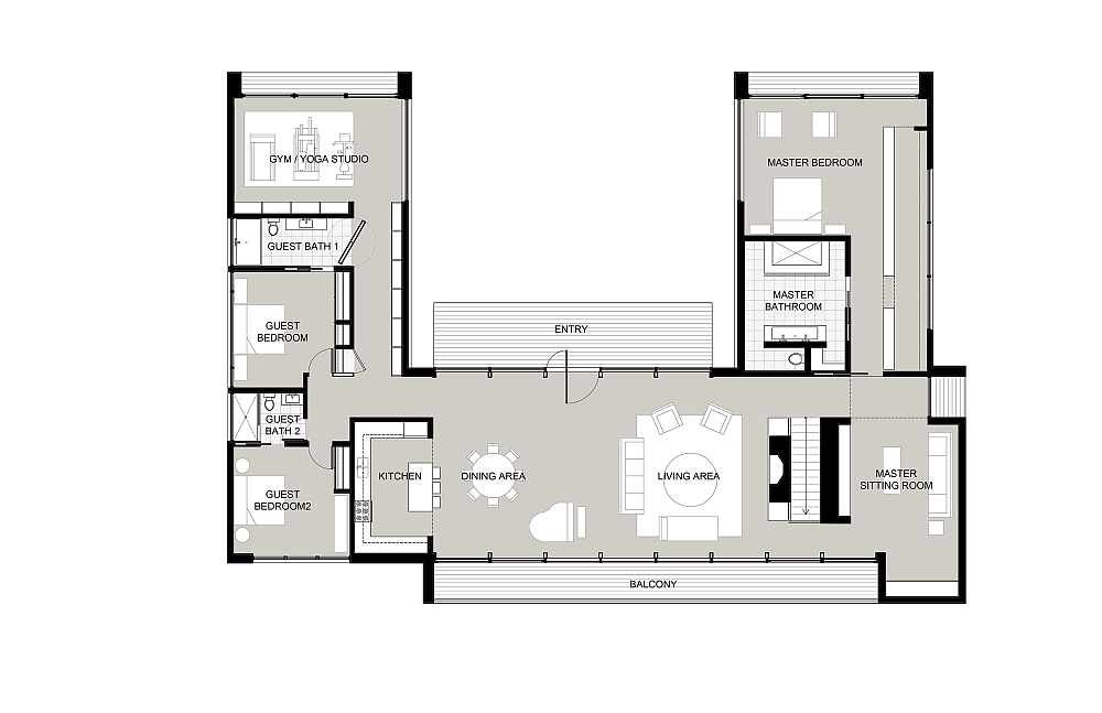 Upper level floor plan of the contemporary Connecticut home