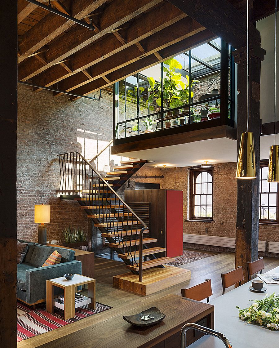 Beautiful staircase connects the living area with the mezzanine level