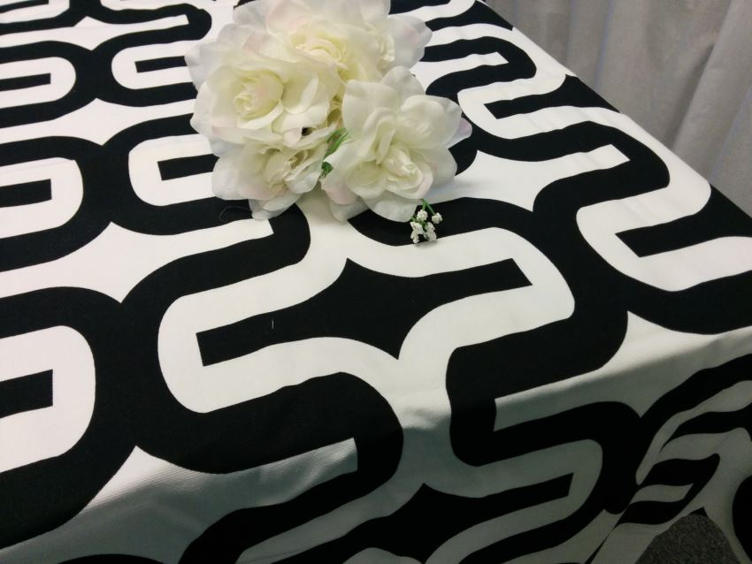 Black and white geometric tablecloth from Fantasy Vintage Bridal