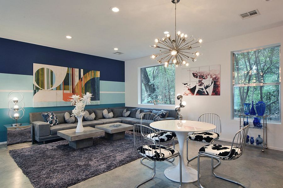 Bold and colorful living room accent wall [Design: Keep Austin Designed]