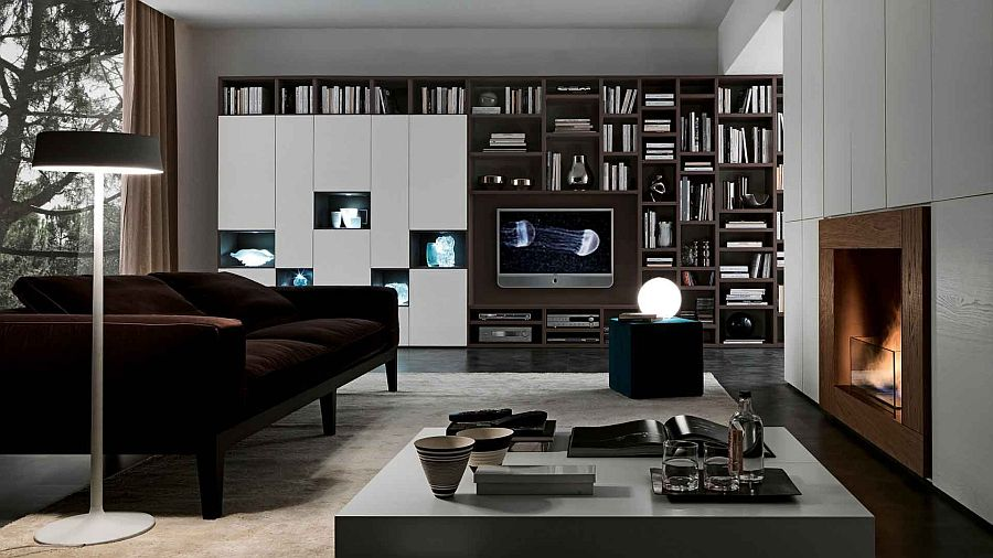 Bookcase system combines open and closed units elegantly