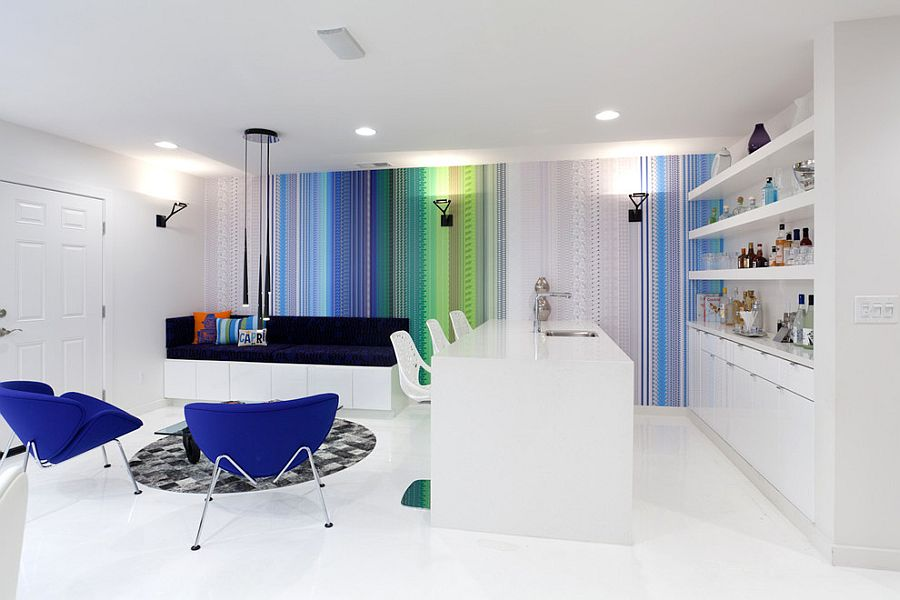 Contemporary living room with colorful minimalism! [Design: Popp Littrell Architecture + Interiors]