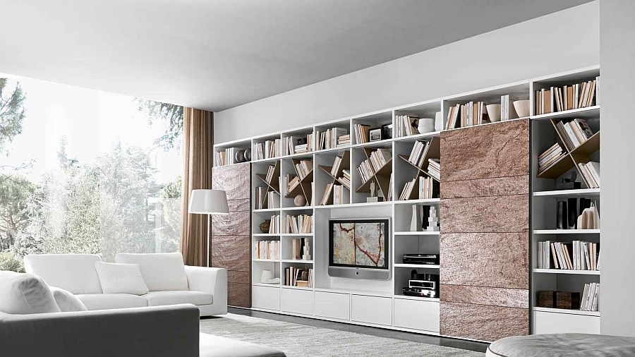Copper stone sliding doors add a unique texture to the living room