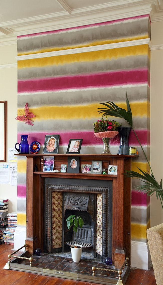 Create a bright and funky accent addition with colorful wallpaper [Design: Dulux Design Service]