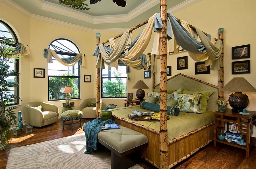 Custom tortoise shell bamboo bed in the tropical bedroom