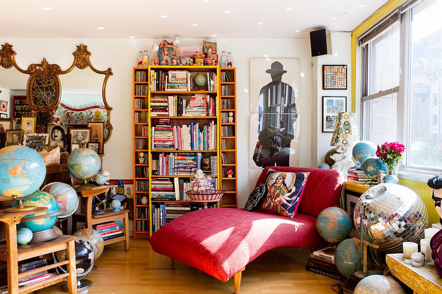 Eclectic living room is all about color and contrast [Photography: Rikki Snyder]