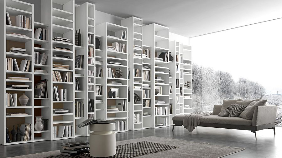 Fabulous bookcase system in white for the contemporary home