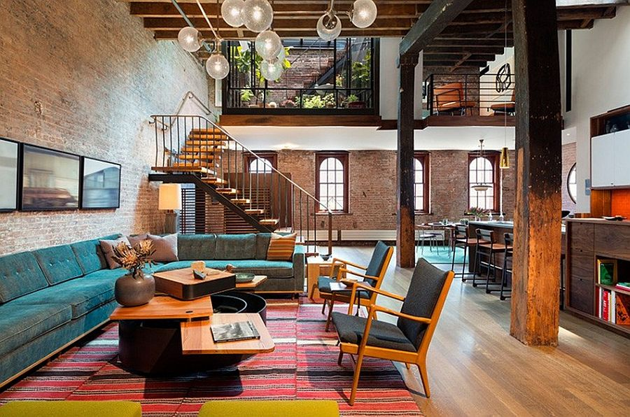 Interior of the loft combines modern and industrial style