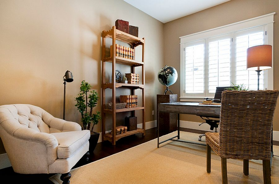 Lovely globe adds color to the home office in an elegant fashion [Design: Candlelight Homes]