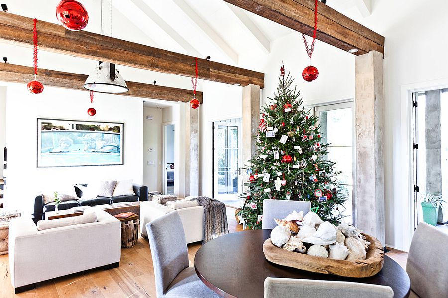 Lovely use of beams reduces the scale of the large living room [Design: Cortney Bishop Design]