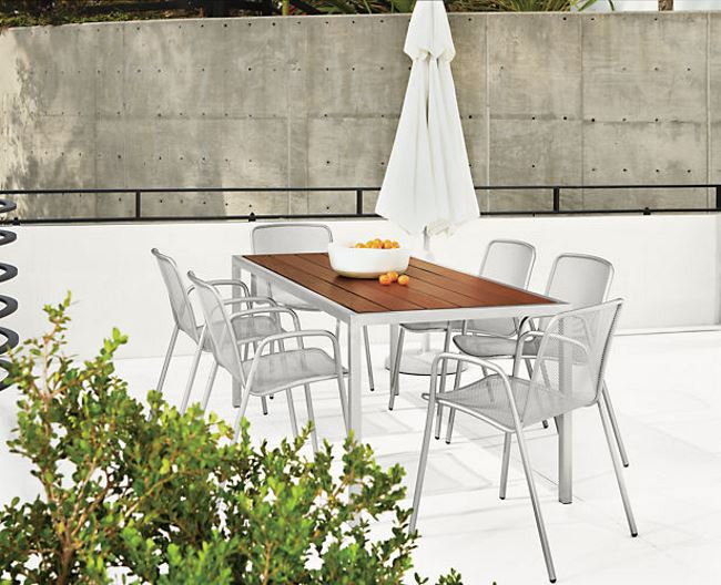 Outdoor dining seating from Room & Board