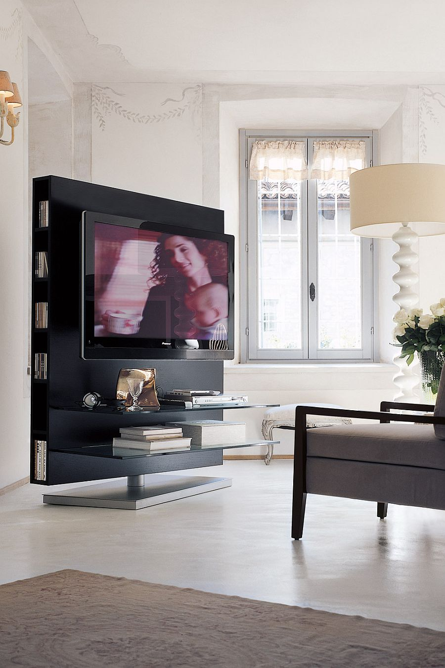 Standalone TV Unit with oak panel and storage space