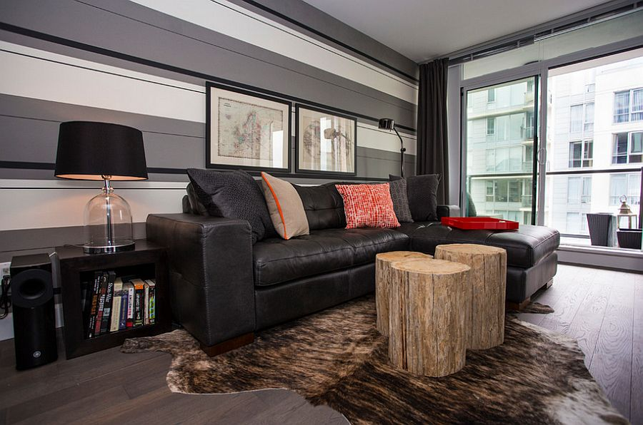 Stripes bring sophistication and pattern to the living room [Design: Beyond Beige Interior Design]