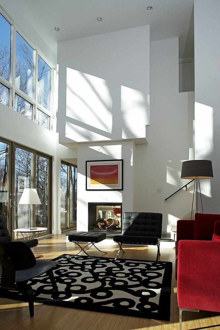 Tripod floor lamp in the corner adds elegance to the space [Design: Ruhl Walker Architects]