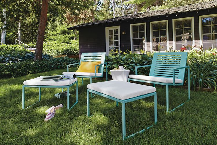 Turquoise lounge seating from Room & Board