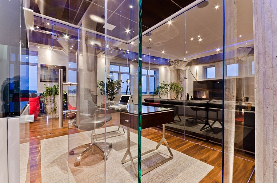 Unique interior of the loft designed to showcase art