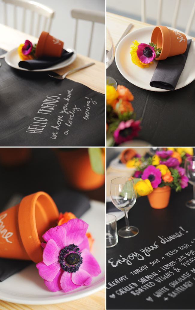Chalkboard Table Runner with Colorful Flowers