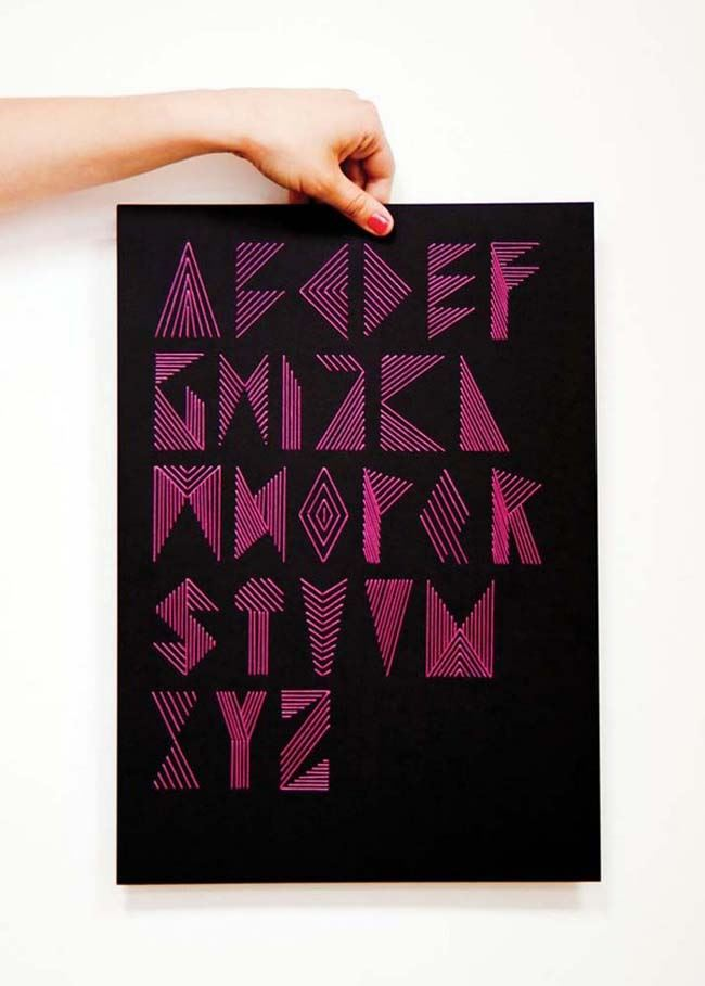 Embroidered alphabet from Plenty of Colour