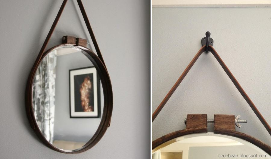 Embroidery hoop mirror from Ceci Bean