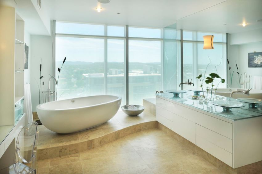 Freestanding tub in a bathroom with a view