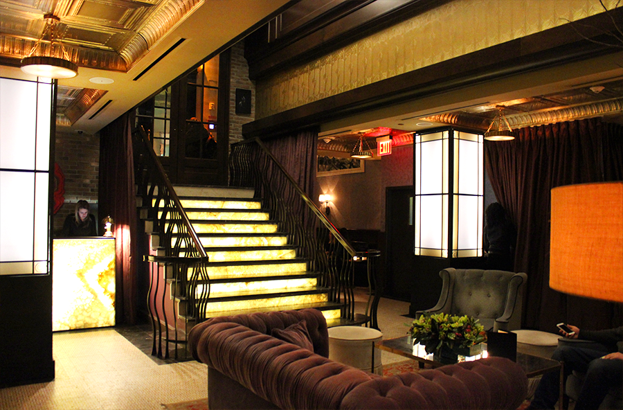 Jade Hotel Lobby Area with Illuminated Steps