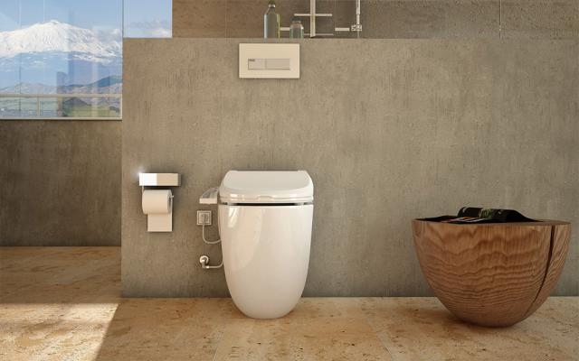 A Japanese toilet and bidet combo